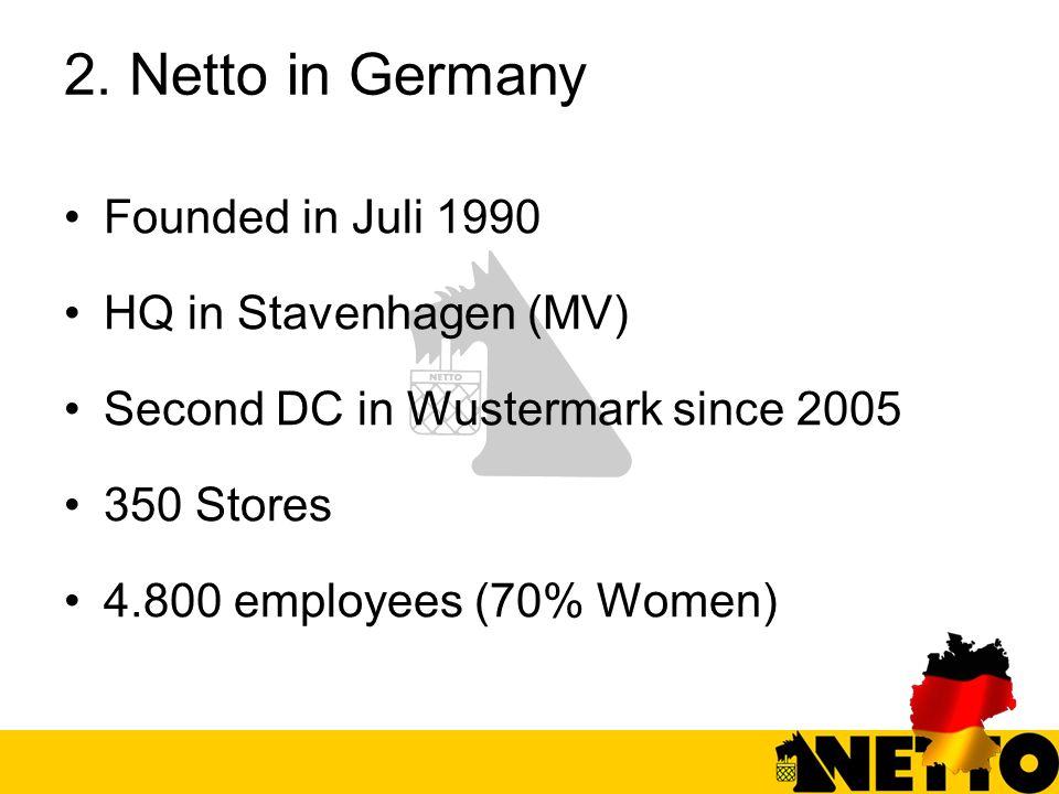 2. Netto in Germany Founded in Juli 1990 HQ in Stavenhagen (MV) Second DC in Wustermark since 2005 350 Stores 4.800 employees (70% Women)