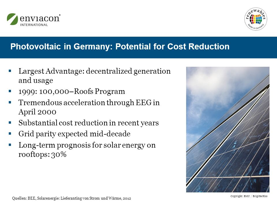 Largest Advantage: decentralized generation and usage 1999: 100,000–Roofs Program Tremendous acceleration through EEG in April 2000 Substantial cost reduction in recent years Grid parity expected mid-decade Long-term prognosis for solar energy on rooftops: 30% Photovoltaic in Germany: Potential for Cost Reduction Quellen: BEE, Solarenergie: Lieferanting von Strom und Wärme, 2012 Copyright: BMU / Brigitte Hiss