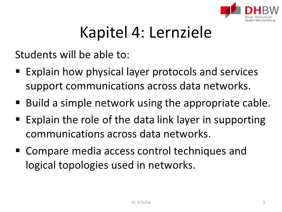 Kapitel 4: Lernziele Students will be able to: Explain how physical layer protocols and services support communications across data networks. Build a
