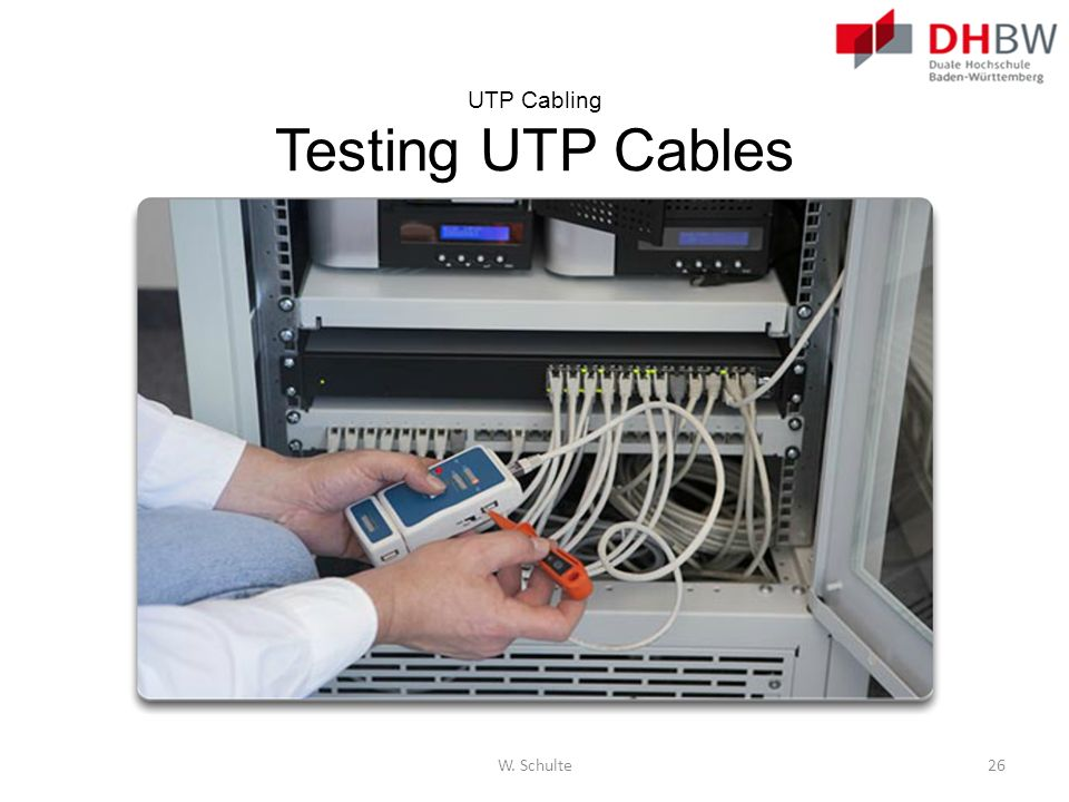 UTP Cabling Testing UTP Cables W. Schulte26