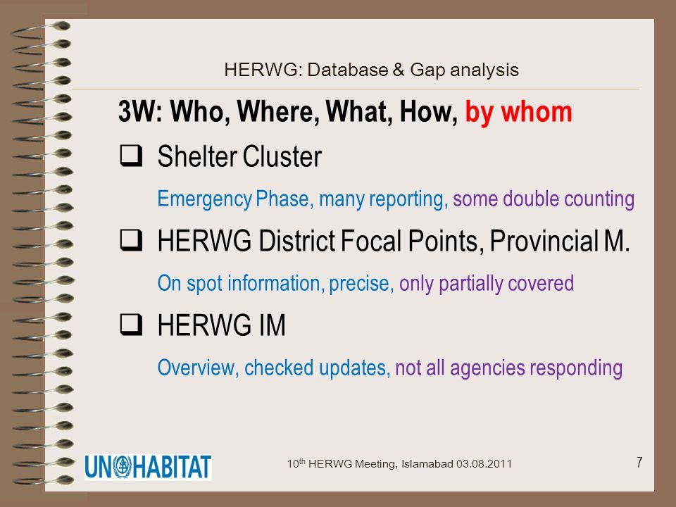 7 HERWG: Database & Gap analysis 3W: Who, Where, What, How, by whom Shelter Cluster Emergency Phase, many reporting, some double counting HERWG Distri