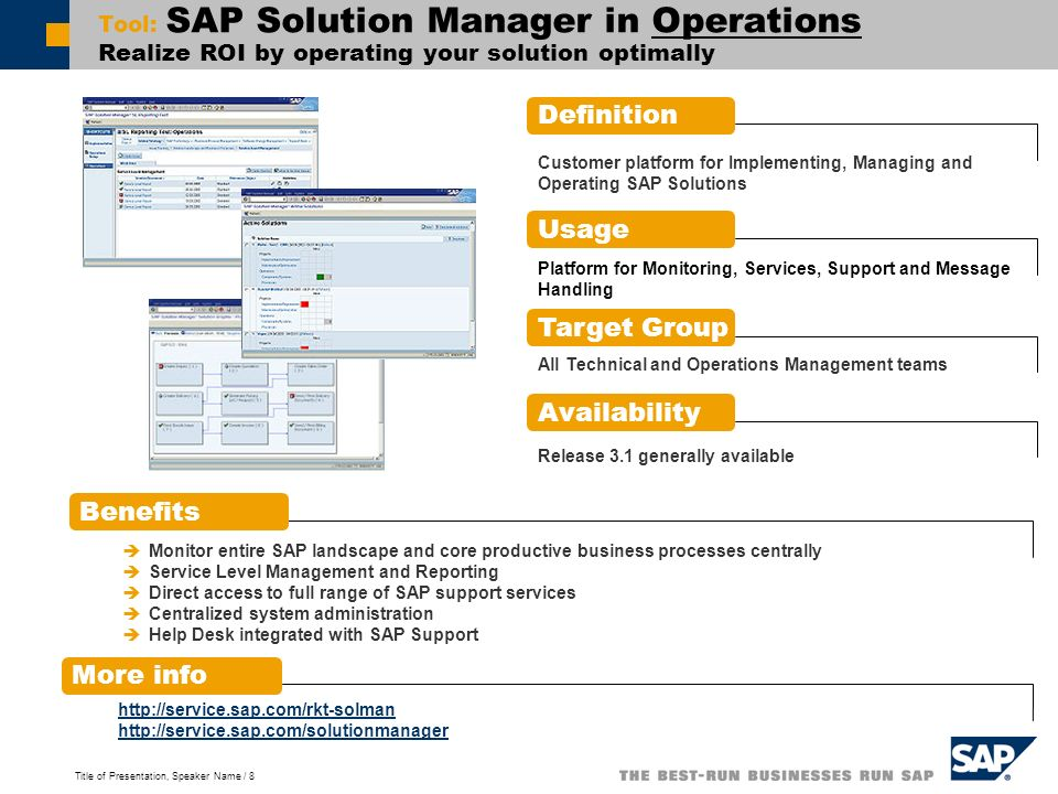 Title of Presentation, Speaker Name / 8 Tool: SAP Solution Manager in Operations Realize ROI by operating your solution optimally Definition Benefits