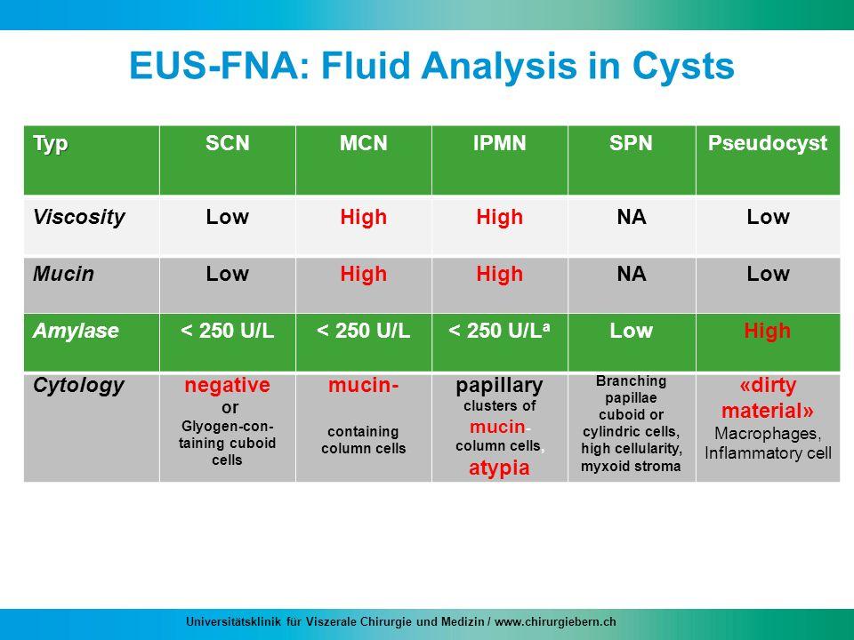 Universitätsklinik für Viszerale Chirurgie und Medizin / www.chirurgiebern.ch EUS-FNA: Fluid Analysis in Cysts TypSCNMCNIPMNSPNPseudocyst Viscosity Mu