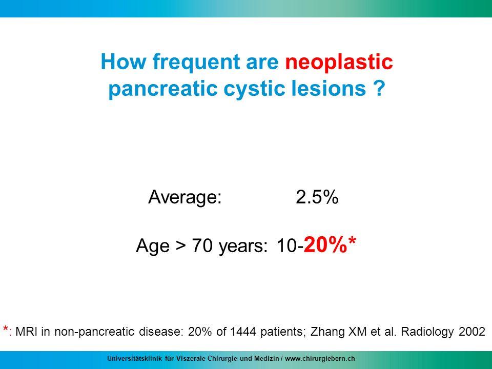 Universitätsklinik für Viszerale Chirurgie und Medizin / www.chirurgiebern.ch How frequent are neoplastic pancreatic cystic lesions ? Average: 2.5% Ag