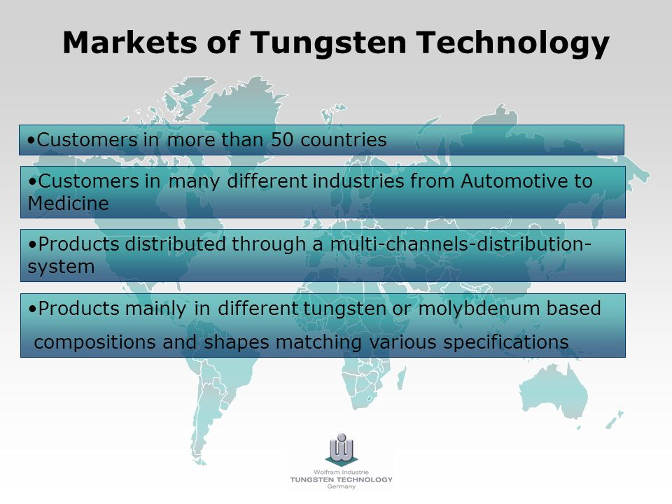 Markets of Tungsten Technology Customers in more than 50 countries Products mainly in different tungsten or molybdenum based compositions and shapes matching various specifications Products distributed through a multi-channels-distribution- system Customers in many different industries from Automotive to Medicine
