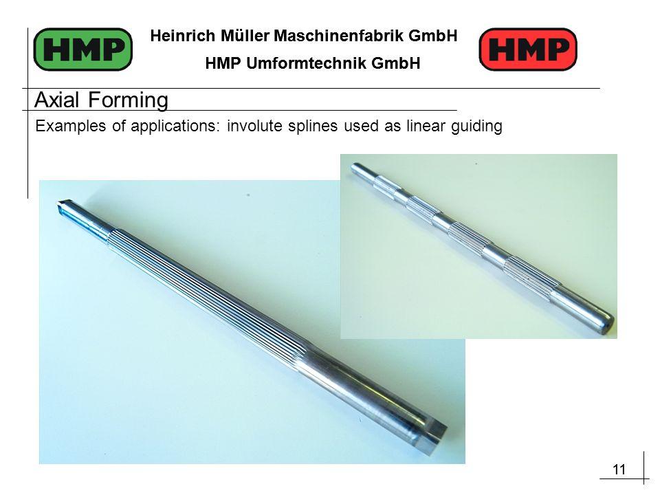 11 Heinrich Müller Maschinenfabrik GmbH HMP Umformtechnik GmbH 11 Heinrich Müller Maschinenfabrik GmbH HMP Umformtechnik GmbH Examples of applications: involute splines used as linear guiding Axial Forming