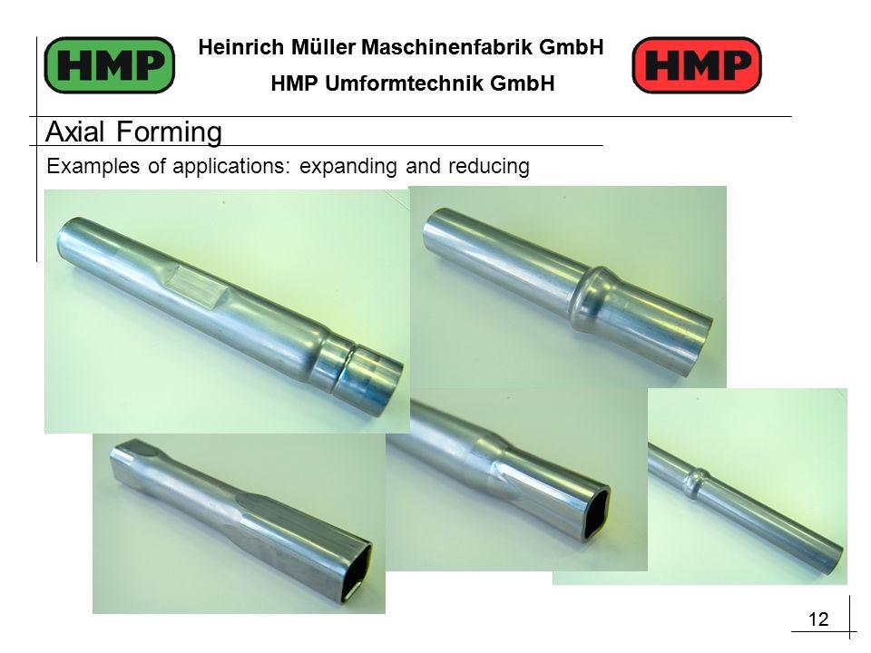 12 Heinrich Müller Maschinenfabrik GmbH HMP Umformtechnik GmbH 12 Heinrich Müller Maschinenfabrik GmbH HMP Umformtechnik GmbH Examples of applications: expanding and reducing Axial Forming