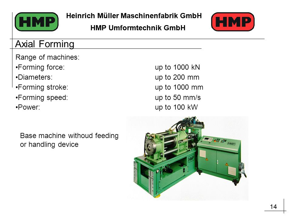 14 Heinrich Müller Maschinenfabrik GmbH HMP Umformtechnik GmbH 14 Heinrich Müller Maschinenfabrik GmbH HMP Umformtechnik GmbH Range of machines: Forming force:up to 1000 kN Diameters: up to 200 mm Forming stroke:up to 1000 mm Forming speed:up to 50 mm/s Power:up to 100 kW Base machine withoud feeding or handling device Axial Forming