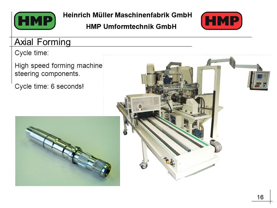 16 Heinrich Müller Maschinenfabrik GmbH HMP Umformtechnik GmbH 16 Heinrich Müller Maschinenfabrik GmbH HMP Umformtechnik GmbH Cycle time: High speed forming machine for steering components.