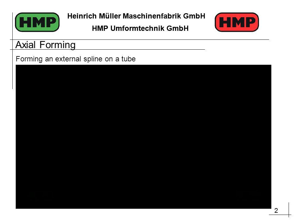 2 Heinrich Müller Maschinenfabrik GmbH HMP Umformtechnik GmbH 2 Heinrich Müller Maschinenfabrik GmbH HMP Umformtechnik GmbH Axial Forming Forming an external spline on a tube