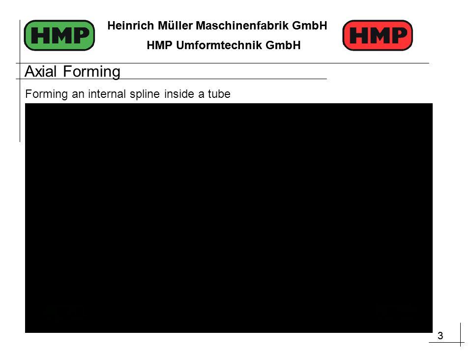 3 Heinrich Müller Maschinenfabrik GmbH HMP Umformtechnik GmbH 3 Heinrich Müller Maschinenfabrik GmbH HMP Umformtechnik GmbH Forming an internal spline inside a tube Axial Forming