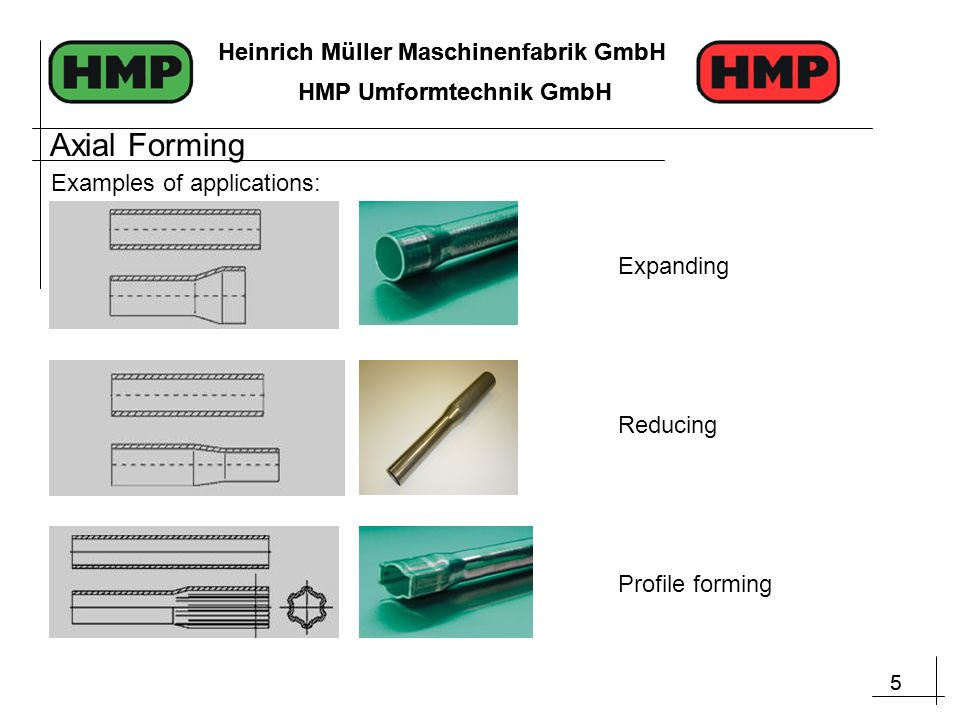 5 Heinrich Müller Maschinenfabrik GmbH HMP Umformtechnik GmbH 5 Heinrich Müller Maschinenfabrik GmbH HMP Umformtechnik GmbH Examples of applications: Reducing Expanding Profile forming Axial Forming