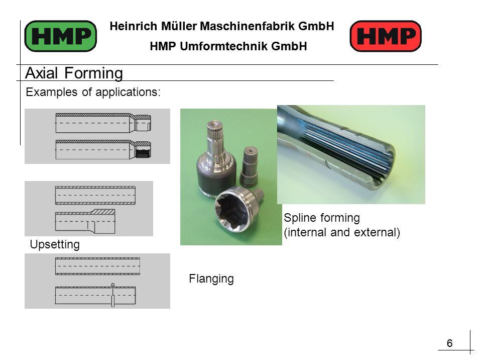 6 Heinrich Müller Maschinenfabrik GmbH HMP Umformtechnik GmbH 6 Heinrich Müller Maschinenfabrik GmbH HMP Umformtechnik GmbH Flanging Spline forming (internal and external) Upsetting Examples of applications: Axial Forming