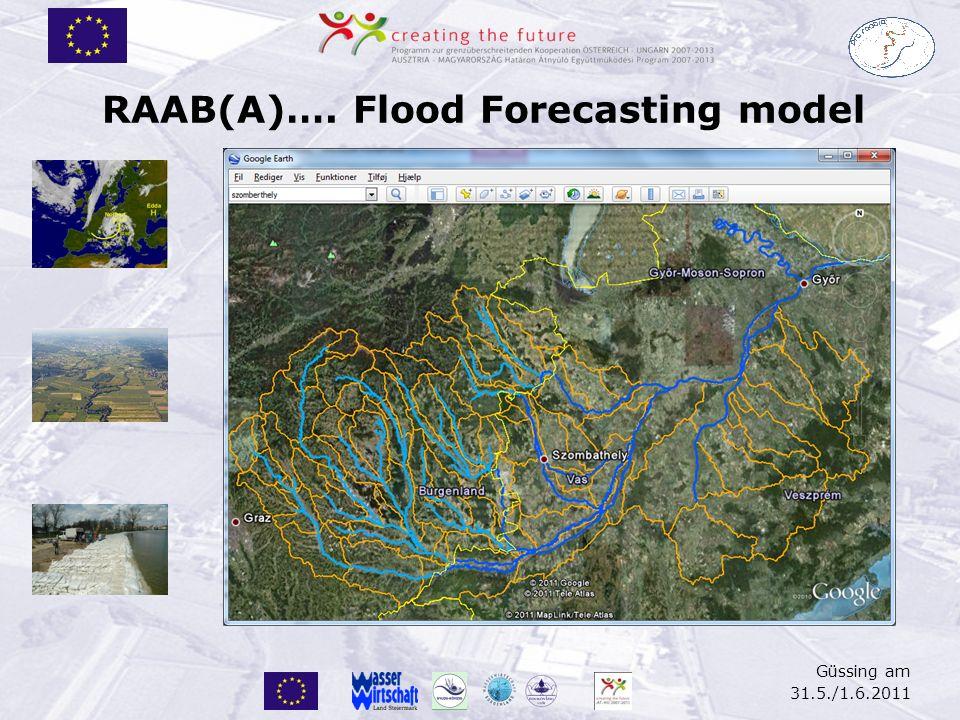 Güssing am 31.5./1.6.2011 RAAB(A)…. Flood Forecasting model