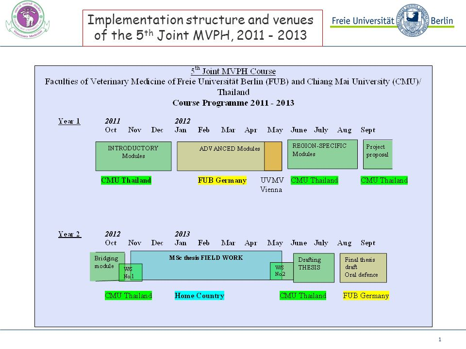 1 Implementation structure and venues of the 5 th Joint MVPH, 2011 - 2013
