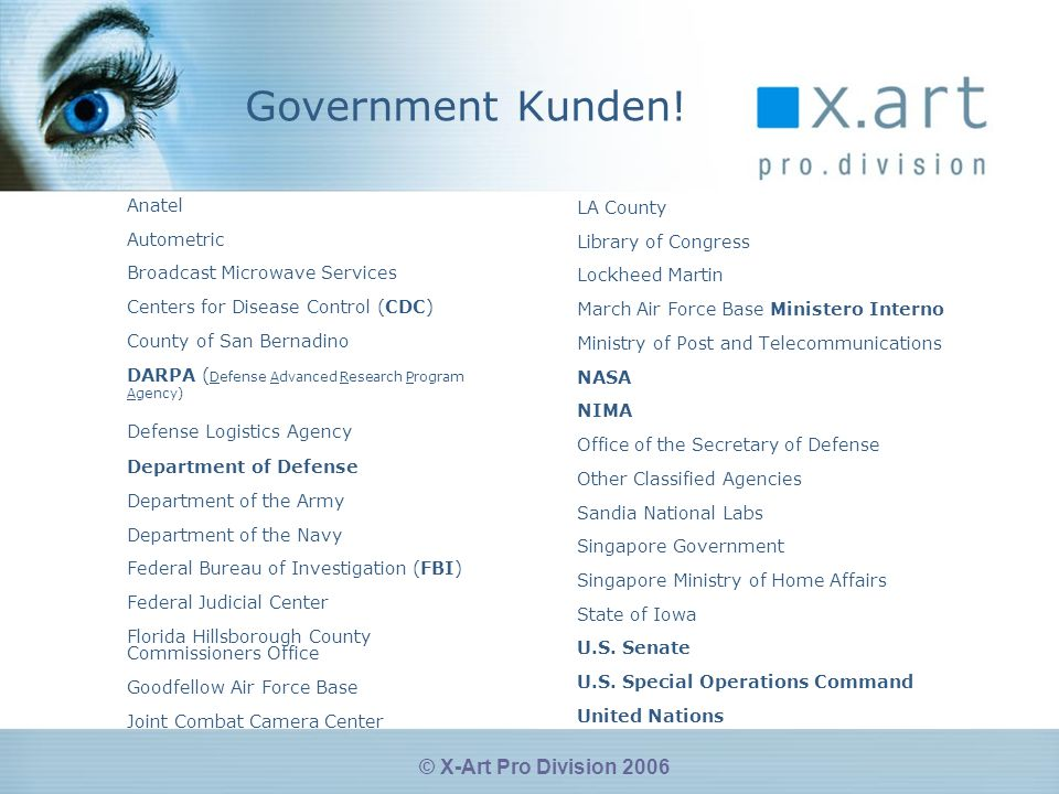 © X-Art Pro Division 2006 Government Kunden.