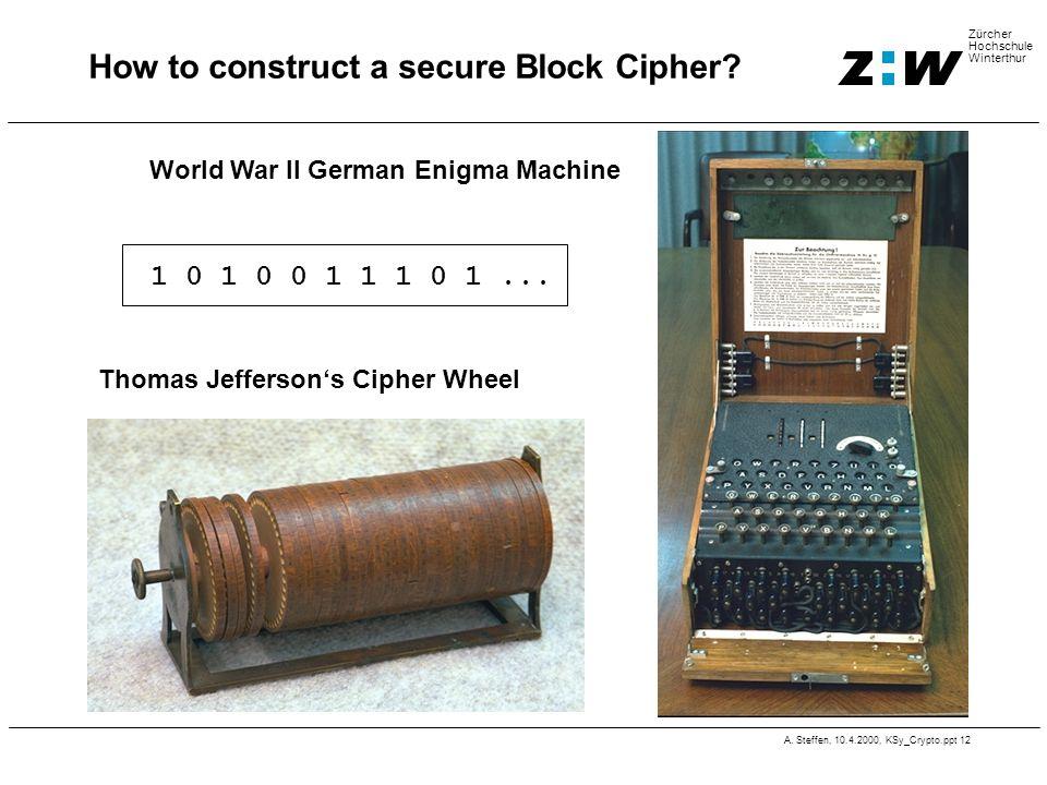 A. Steffen, 10.4.2000, KSy_Crypto.ppt 12 Zürcher Hochschule Winterthur How to construct a secure Block Cipher? World War II German Enigma Machine Thom