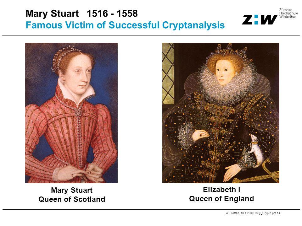 A. Steffen, 10.4.2000, KSy_Crypto.ppt 14 Zürcher Hochschule Winterthur Mary Stuart 1516 - 1558 Famous Victim of Successful Cryptanalysis Mary Stuart Q