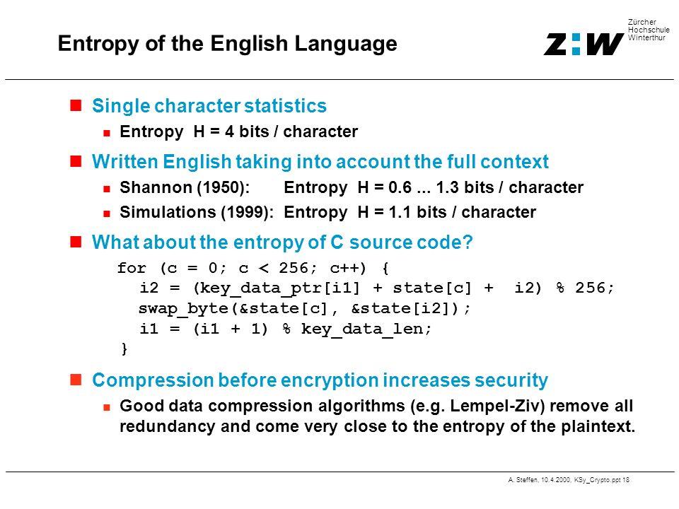 A. Steffen, 10.4.2000, KSy_Crypto.ppt 18 Zürcher Hochschule Winterthur Entropy of the English Language Single character statistics Entropy H = 4 bits