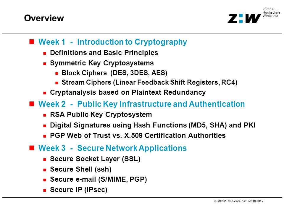 A. Steffen, 10.4.2000, KSy_Crypto.ppt 2 Zürcher Hochschule Winterthur Overview Week 1 - Introduction to Cryptography Definitions and Basic Principles