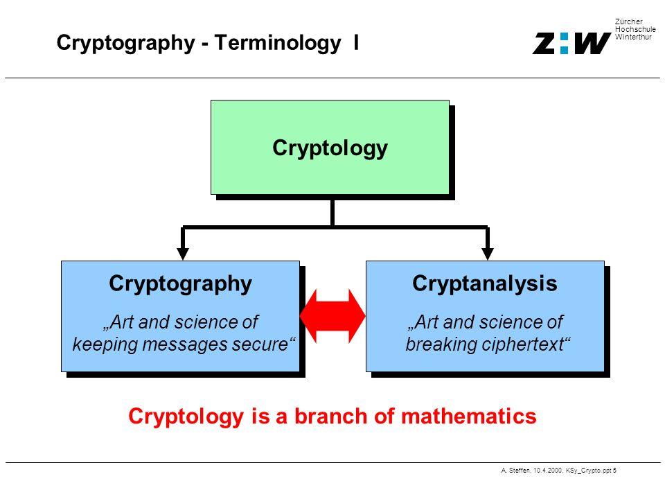 A. Steffen, 10.4.2000, KSy_Crypto.ppt 5 Zürcher Hochschule Winterthur Cryptography - Terminology I Cryptology is a branch of mathematics Cryptology Cr