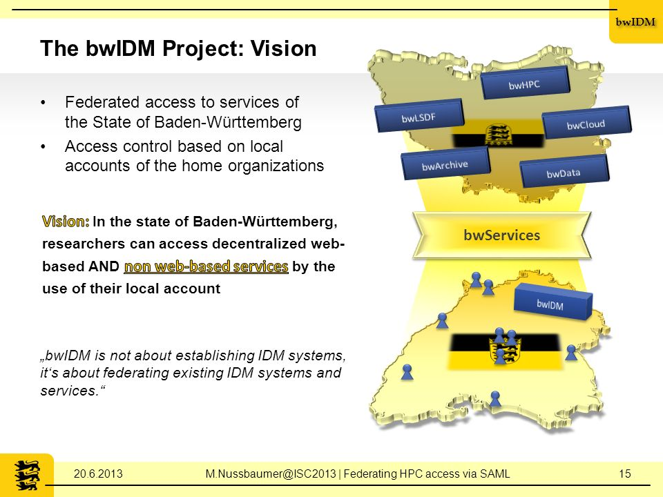 bwIDM The bwIDM Project: Vision Federated access to services of the State of Baden-Württemberg Access control based on local accounts of the home organizations bwIDM is not about establishing IDM systems, its about federating existing IDM systems and services.
