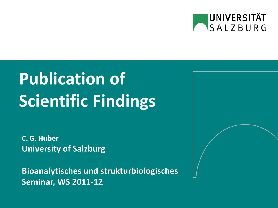 Publication of Scientific Findings C.G.