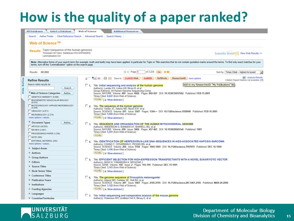 Department of Molecular Biology Division of Chemistry and Bioanalytics How is the quality of a paper ranked.