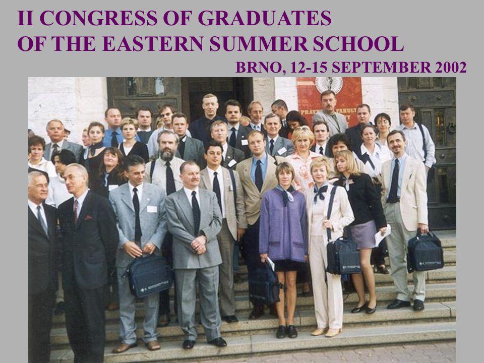 BRNO, 12-15 SEPTEMBER 2002 II CONGRESS OF GRADUATES OF THE EASTERN SUMMER SCHOOL