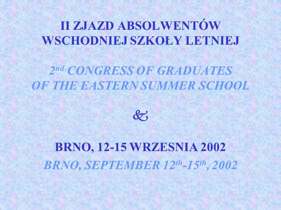 II ZJAZD ABSOLWENTÓW WSCHODNIEJ SZKOŁY LETNIEJ 2 nd CONGRESS OF GRADUATES OF THE EASTERN SUMMER SCHOOL BRNO, 12-15 WRZESNIA 2002 BRNO, SEPTEMBER 12 th