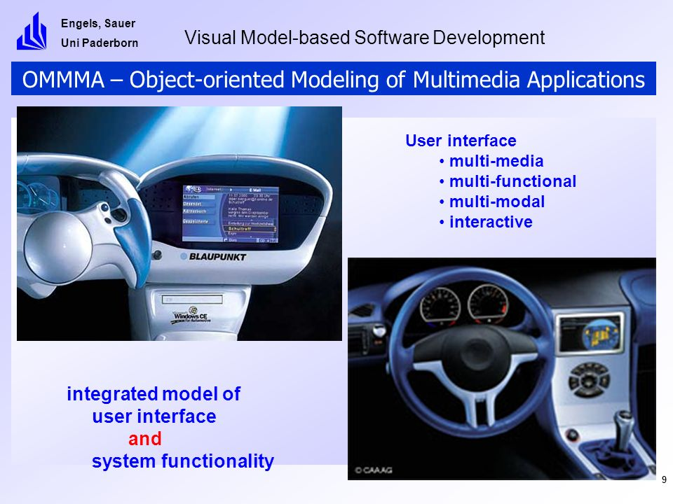 Engels, Sauer Uni Paderborn Visual Model-based Software Development 9 OMMMA – Object-oriented Modeling of Multimedia Applications User interface multi-media multi-functional multi-modal interactive integrated model of user interface and system functionality