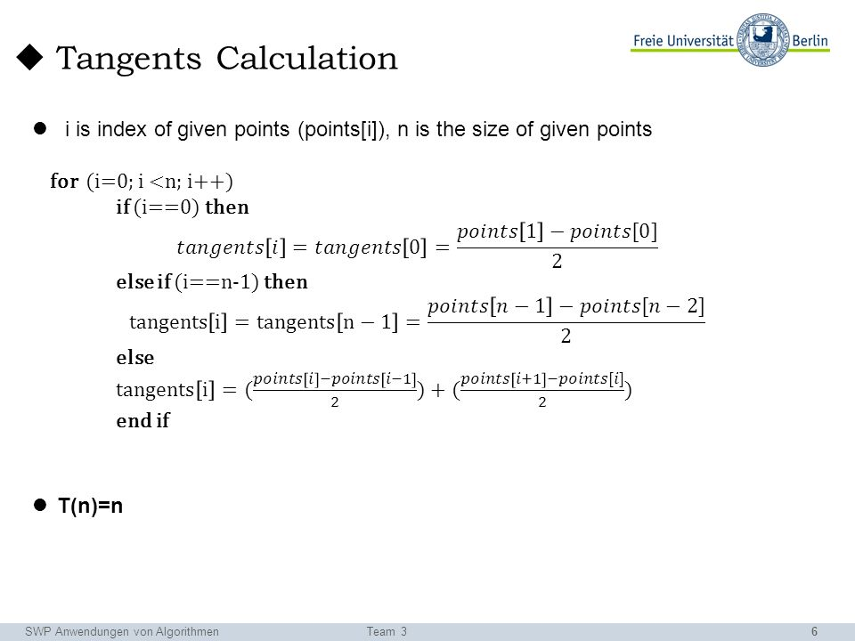 6 SWP Anwendungen von AlgorithmenTeam 3 Tangents Calculation