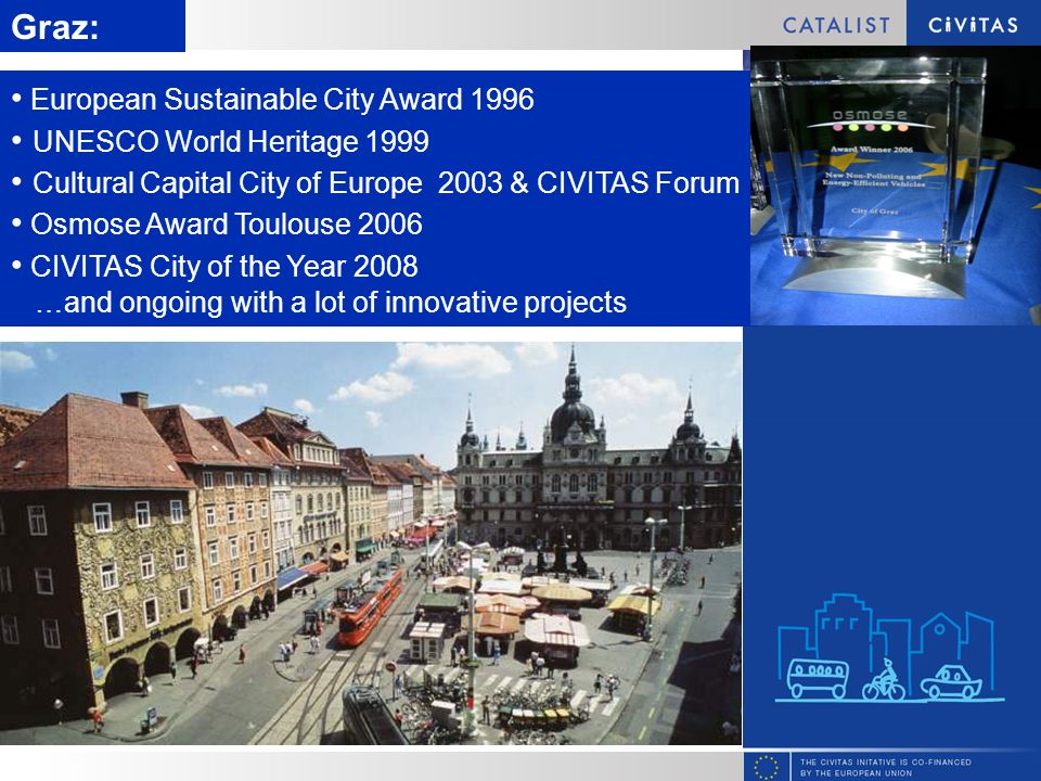 Slide title Graz: European Sustainable City Award 1996 UNESCO World Heritage 1999 Cultural Capital City of Europe 2003 & CIVITAS Forum Osmose Award Toulouse 2006 CIVITAS City of the Year 2008 …and ongoing with a lot of innovative projects