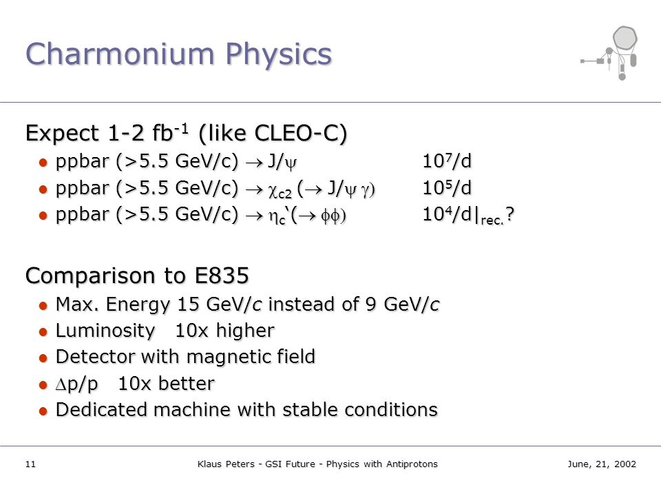 11June, 21, 2002Klaus Peters - GSI Future - Physics with Antiprotons Charmonium Physics Expect 1-2 fb -1 (like CLEO-C) ppbar (>5.5 GeV/c) J/10 7 /d pp