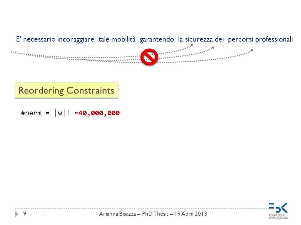 9 Reordering Constraints E necessario incoraggiare tale mobilità garantendo la sicurezza dei percorsi professionali #perm = |w|.