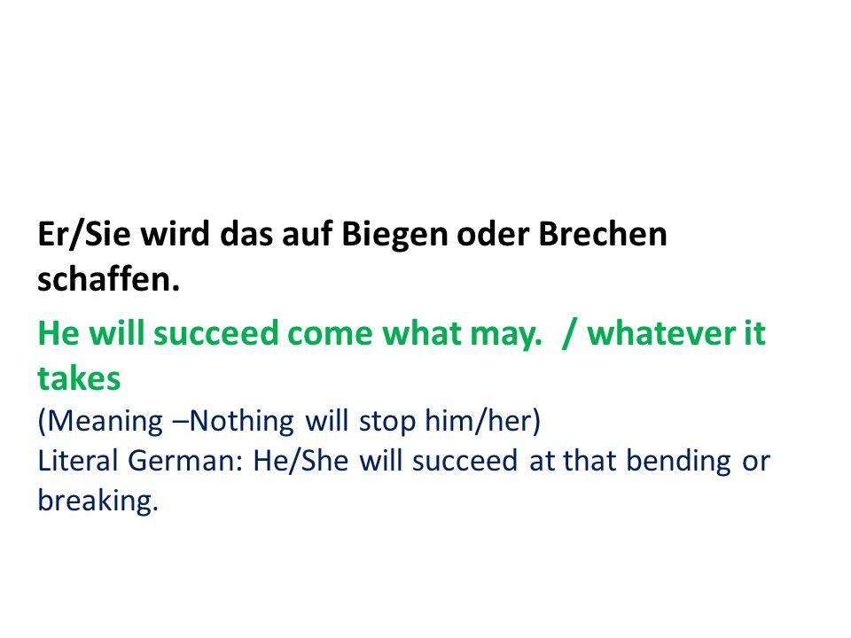 Er/Sie wird das auf Biegen oder Brechen schaffen. He will succeed come what may. / whatever it takes (Meaning –Nothing will stop him/her) Literal Germ