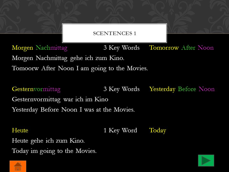 Morgen Nachmittag 3 Key WordsTomorrow After Noon Morgen Nachmittag gehe ich zum Kino. Tomoorw After Noon I am going to the Movies. Gesternvormittag 3