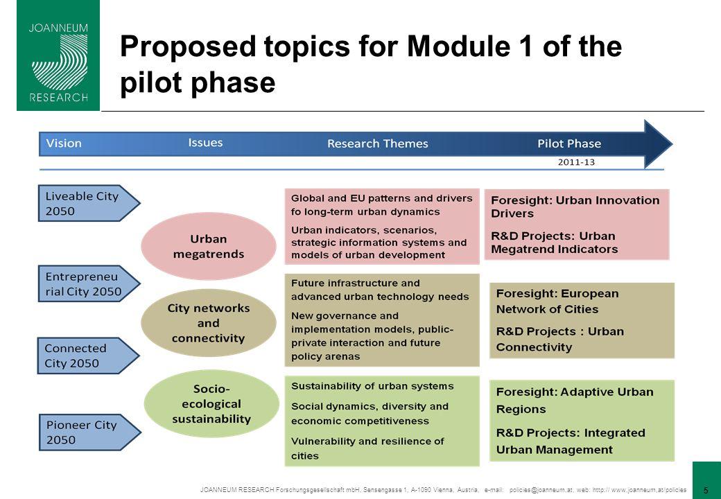 JOANNEUM RESEARCH Forschungsgesellschaft mbH, Sensengasse 1, A-1090 Vienna, Austria, e-mail: policies@joanneum,at, web: http:// www,joanneum,at/policies 5 Proposed topics for Module 1 of the pilot phase