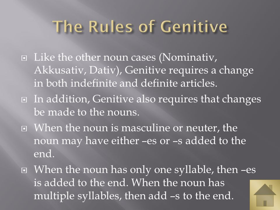 Like the other noun cases (Nominativ, Akkusativ, Dativ), Genitive requires a change in both indefinite and definite articles. In addition, Genitive al