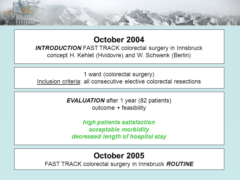 October 2004 INTRODUCTION FAST TRACK colorectal surgery in Innsbruck concept H. Kehlet (Hvidovre) and W. Schwenk (Berlin) 1 ward (colorectal surgery)