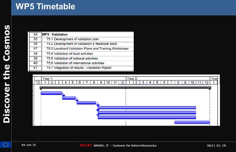 15 von 32 ViS:AT BMUKK, IT – Systeme für Unterrichtszwecke 08/11 EZ, CR Discover the Cosmos WP5 Timetable