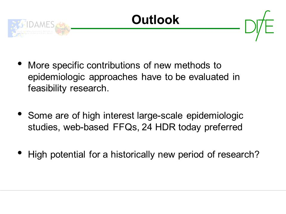 More specific contributions of new methods to epidemiologic approaches have to be evaluated in feasibility research.
