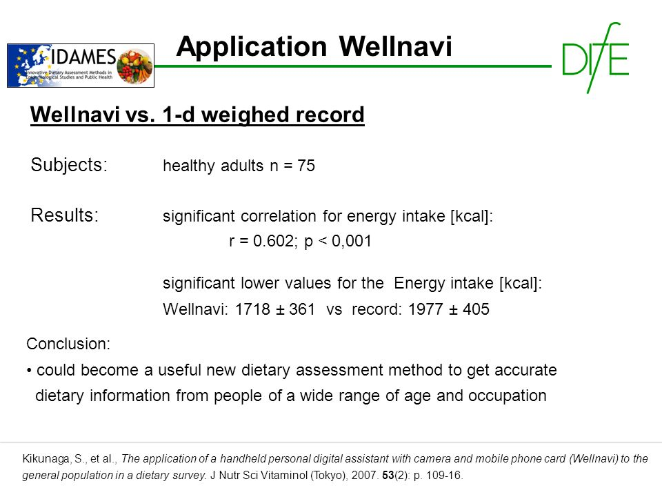 Application Wellnavi Kikunaga, S., et al., The application of a handheld personal digital assistant with camera and mobile phone card (Wellnavi) to the general population in a dietary survey.