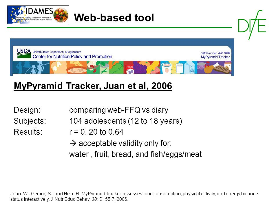 MyPyramid Tracker, Juan et al, 2006 Design: comparing web-FFQ vs diary Subjects: 104 adolescents (12 to 18 years) Results: r = 0.