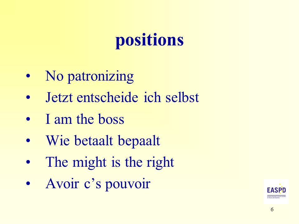 6 positions No patronizing Jetzt entscheide ich selbst I am the boss Wie betaalt bepaalt The might is the right Avoir cs pouvoir