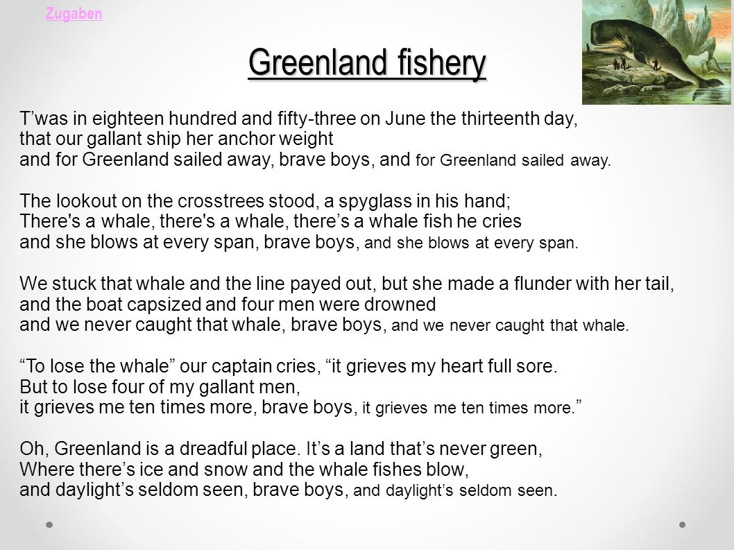 Zugaben Greenland fishery Twas in eighteen hundred and fifty-three on June the thirteenth day, that our gallant ship her anchor weight and for Greenla