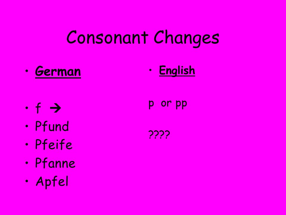 Consonant Changes German f Pfund Pfeife Pfanne Apfel English p or pp