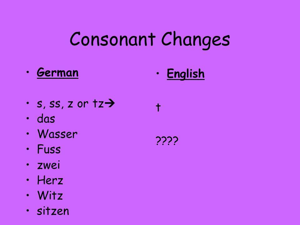 Consonant Changes German s, ss, z or tz das Wasser Fuss zwei Herz Witz sitzen English t