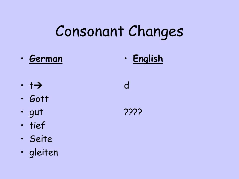 Consonant Changes German t Gott gut tief Seite gleiten English d