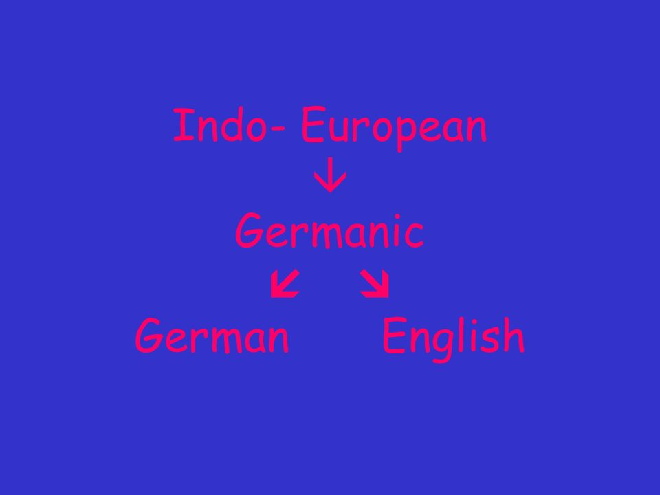 Indo- European Germanic German English